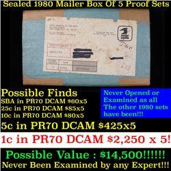 Original sealed box 5- 1980 United States Mint Proof Sets (fc)