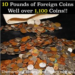 10 LBS of Mixed Foreign Coins Well Over 1100 Coins Unsearched Hours & Hours of Fun