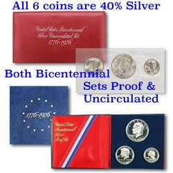 1776-1976 Bicentennial Silver Proof & Uncirculated set, 6 coins