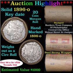 ***Auction Highlight*** Full solid Key date 1896-o Morgan silver dollar roll, 20 coins (fc)