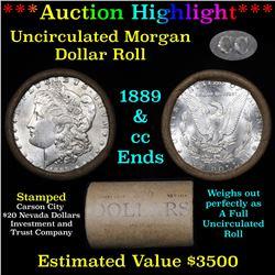 **Auction Highlight** 1889 & CC Uncirculated Morgan Dollar Shotgun Roll (fc)