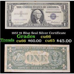 1957 $1 Blue Seal Silver Certificate Grades Gem+ CU