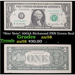 *Star Note* 2003A Richmond FRN Green Seal Grades Choice AU/BU Slider