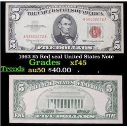 1963 $5 Red seal United States Note Grades xf+