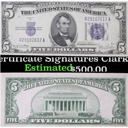2- 1934D $5 Blue Seal Silver Certificate Signatures Clark/Snyder, consec serial number Grades Gem+ C