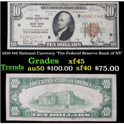1929 $10 National Currency 'The Federal Reserve Bank of NY' Grades xf+