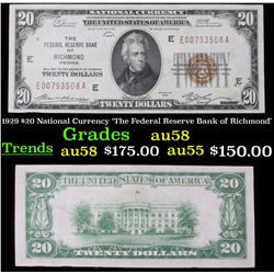 1929 $20 National Currency 'The Federal Reserve Bank of Richmond' Grades Choice AU/BU Slider