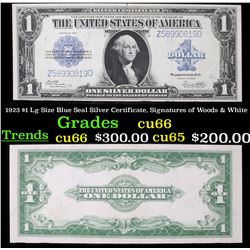 1923 $1 Lg Size Blue Seal Silver Certificate, Signatures of Woods & White Grades Gem+ CU