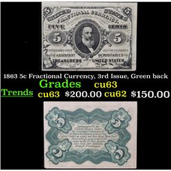 1863 5c Fractional Currency, 3rd Issue, Green back Grades Select CU