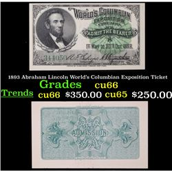 1893 Abraham Lincoln World's Columbian Exposition Ticket Grades Gem+ CU
