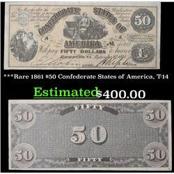 ***Rare 1861 $50 Confederate States of America, T-14 Grades xf