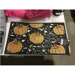 """Glitter Pumpkin Rubber Doormat (18"""" x 30"""")"""