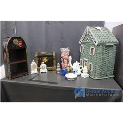 Wicker Doll House, Hamper, Avon, Lighter, Decorative Box and Shelf