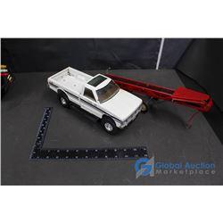Case 4WD Service Truck & Red Metal Bale Conveyer