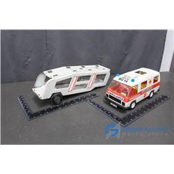 Metal Tonka Car Hauler Trailer & Playmobil EU Ambulance