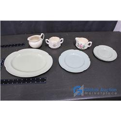 Cream and Sugar Set and Greendawn Johnson Bros England Plate Set