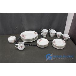 Fine China Flower Garden Set - Cups, Saucer, Cream & Sugar, Large & Small Plates