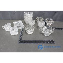 Clear Glass/Crystal Glass Pieces - Cream & Sugar, Tea Cups, etc