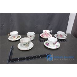 Assorted Tea Cup and Saucer Sets - Royal Albert, Delphine China Made in England, Made in Japan, etc