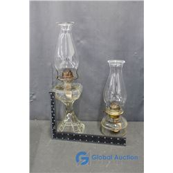 (2) Oil Lamps and Shades