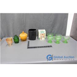 Green Glass, Lipton's Tea Tin and Assorted Decor