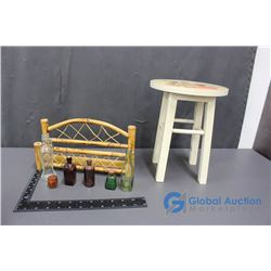 Sunflower Mini Stool and Bottle Rack with Assorted Bottles