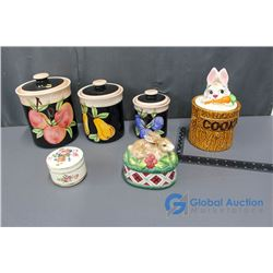 Kitchen Canisters Set and Bunny Cookie Jar