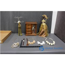 Jewelry Box and Stands w/Contents
