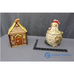 Gingerbread House and Rooster Cookie Jar
