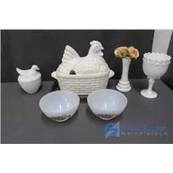 Rooster Serving Dish (Missing Ladle), Bird in a Nest Dish, Milk Glass Bowls