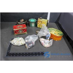 Assorted Tins and Buttons