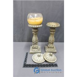 (2) Pillar Candle Holders (Missing Bowl)