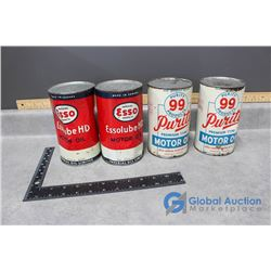 (2) One Quart Purity 99 Motor Oil Tin Cans & (2) One Quart Esso Motor Oil Tin Cans