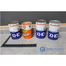 One Quart Orange Gulf Motor Oil Cardboard Can & (3) One Quart Blue Gulf Motor Oil Tin Cans