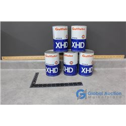 (5) One Quart Gulf Lube XHD Motor Oil Tin Cans