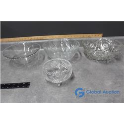 (4) Crystal Clear Glass Decorative Bowls