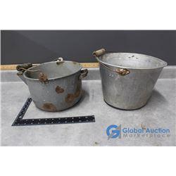 (2) Vintage Galvanized Pots