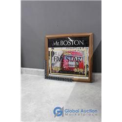 Framed Mr. Boston Five Star Brandy Wall Mirror