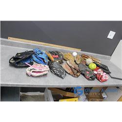 Various Baseball Gloves & Balls