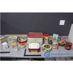 (17) Tins & (2) Paper Salt Containers