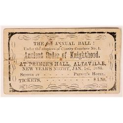 Prince's Hall 6th Annual Ball Ticket, Altaville, CA  (119667)