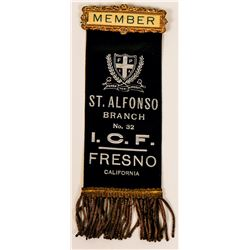 Italian Catholic Federation Membership Ribbon/Badge, Fresno   (110514)
