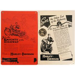 Harley-Davidson Hollister Motorcycle Rally Tin Advertising Signs (2)  (116895)