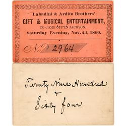 Gold Rush Musical Entertainment Ticket, Jackson, CA  (119122)
