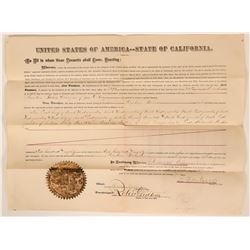 1875 Monterey Land Document Signed by California Governor Pacheco  (113266)