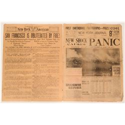 New York Newspapers Early Reporting of San Francisco Fire 1906 (Lot of 2)  (116891)