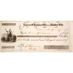 Check from Express & Banking Office of Rhodes and Co Signed by FW Blake  (61742)