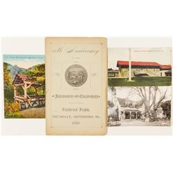 Postcards (3) & Anniversary Admission to Society of California Pioneers  (56742)