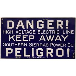 So. Sierras Power Co. Enamel Sign  (118280)