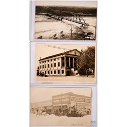 Caldwell Idaho, Set of 3 Real Photo Postcards, Methodist Church, Etc. (117978)